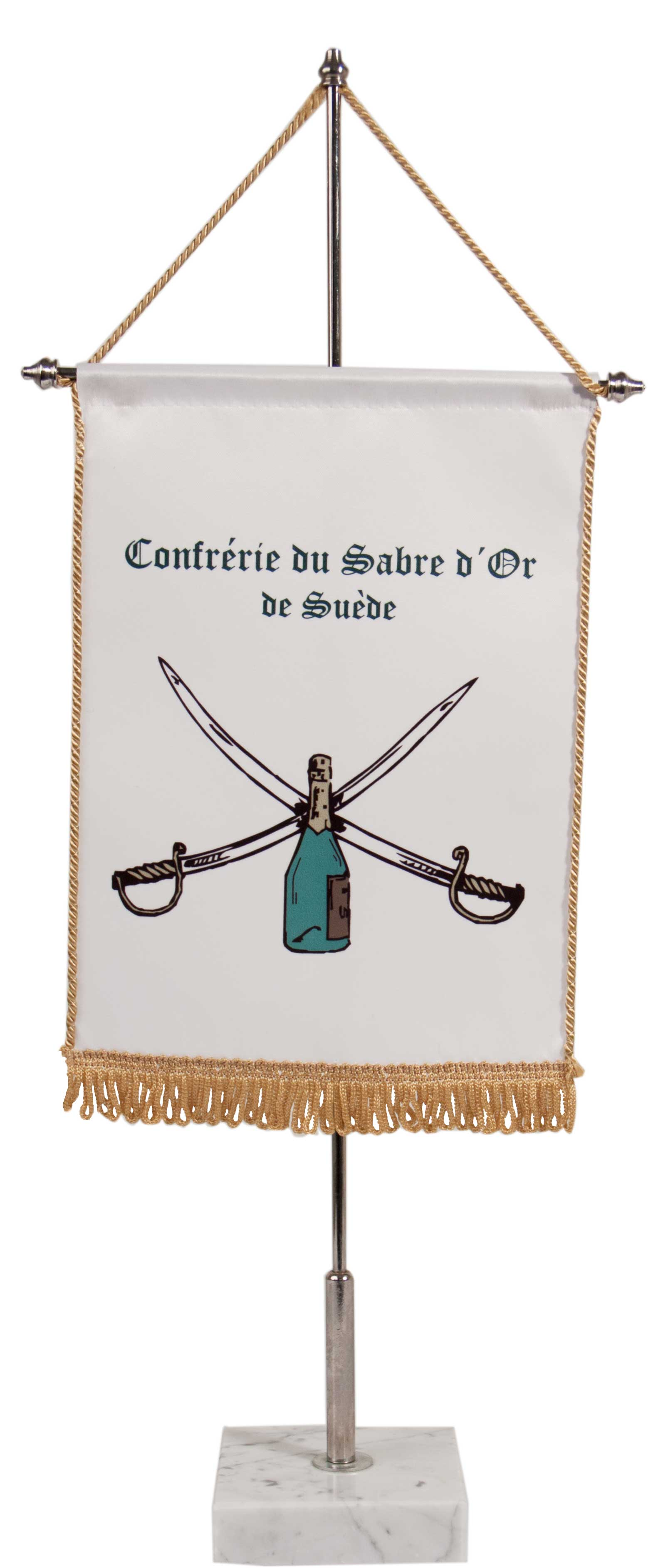 Table banners in double silk (Fringes)