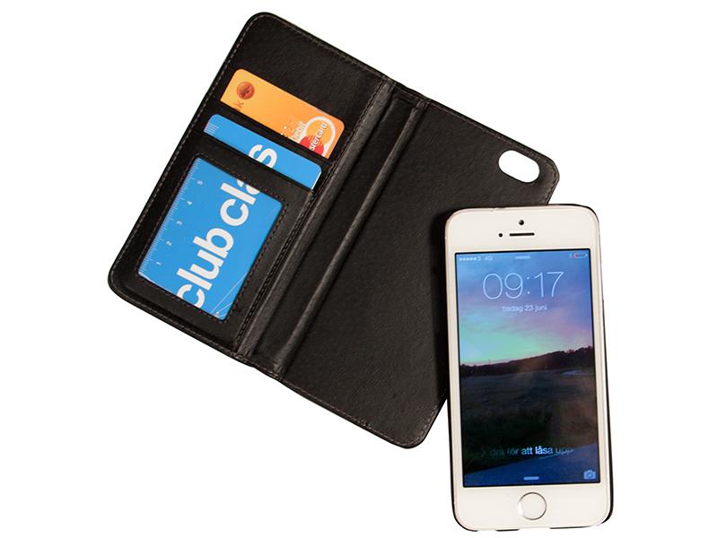 Plånboksfodral i läder med magnet (iPhone 5 / SE)