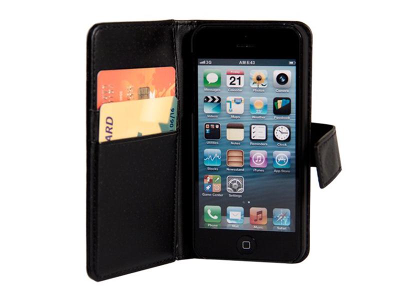 Plånboksfodral i läder med magnet (iPhone)