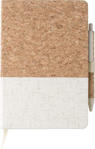 Cork and linen notebook andwheatstraw ballpen