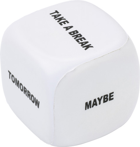 PU foam dice with text