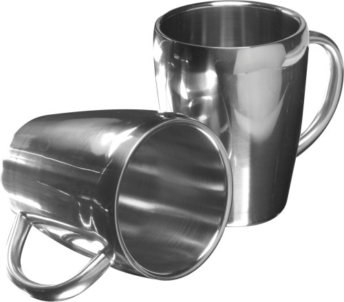 Stainless steel double walled mugs
